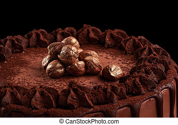 Chocolate cake with nuts on a black background. Close-up