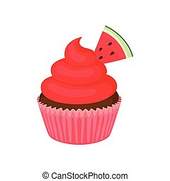 Chocolate cake with red cream. Vector illustration on white background.