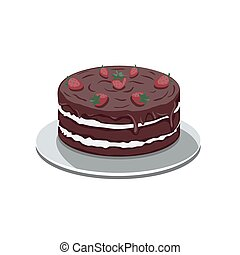 Chocolate cake with strawberries on a white isolated background. Vector image