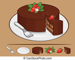 Chocolate Cake with Strawberry on P - A vector set of a...