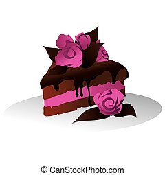 Chocolate cake with sugar flowers - An illustration of a...