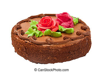 Chocolate cake with two cream-colored roses. Isolated on...