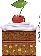 Chocolate cake with whipped cream and a cherry. Isolated...