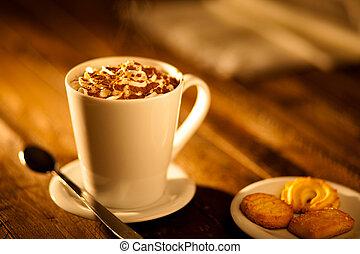 chocolate caliente, crema batida