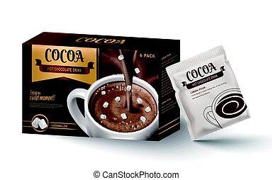 chocolate caliente, diseño, paquete