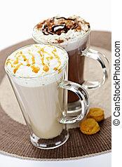 chocolate caliente, y, café, bebidas