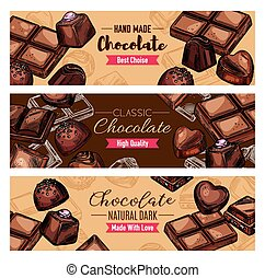Chocolate candies and sweet, vector banners. Dessert choco treats and tasty snacks. Confectionery food, cocoa sweets of dark and milk chocolate with nuts and caramel, chocolate of heart shape