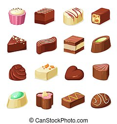 Chocolate candies and sweets, dessert food - Chocolate candy...