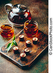 Chocolate Candies Assortment and tea