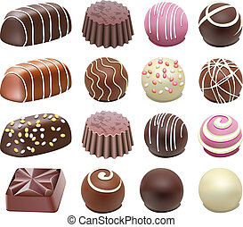 chocolate candies - vector set of chocolate candies