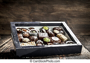 Chocolate candies in a box.