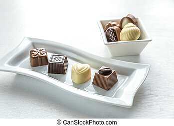 Chocolate candies of different shapes