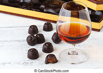 chocolate candies on table, close up view