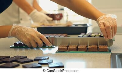 Chocolate candies preapering for sale in confectionery
