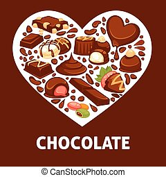 Chocolate candy and comfit heart vector poster patisserie...