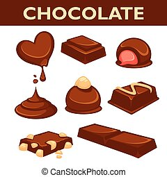 Chocolate candy assortment vector collection isolated on...