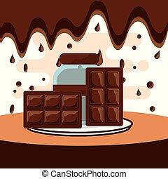 chocolate candy card - chocolate bars and glass jar on dish...