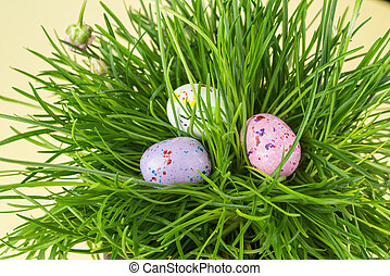 Chocolate candy eggs on a grass.