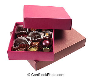 Chocolate candy in box