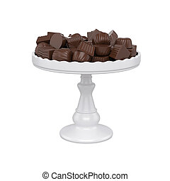 chocolate candy on tray, isolated on white background, 3d rendering