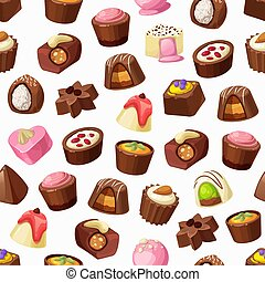 Chocolate candies, truffles and praline seamless pattern. Vector background of sweet food and chocolate desserts, caramel, nuts and coconut, coffee, milk cream and nougat, confectionery backdrop