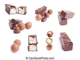 chocolate candys - Chocolate sweet set on white background