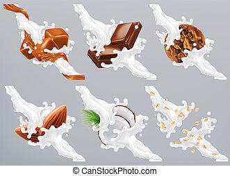 Chocolate, caramel, coconut, almond, biscuit, oats in milk splash. Yogurt 3d realistic vector