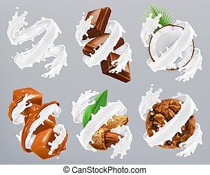 Chocolate, caramel, coconut, almond, biscuits in milk splash. Yogurt 3d realistic vector