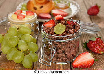 Chocolate cereal with fruit