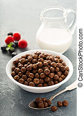 Chocolate cereals in a white bowl