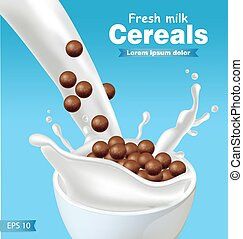 Chocolate cereals in milk splash Vector realistic. Blue background 3d detailed effect illustrations