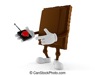 Chocolate character pushing button on white background