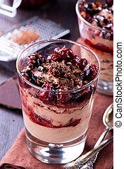 Chocolate cheese desert with cherries