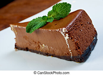 chocolate cheesecake on a white plate
