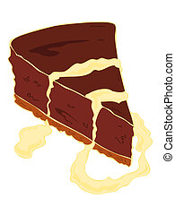 Chocolate cheesecake with custard.