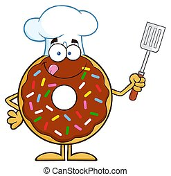 Chocolate Chef Donut Character