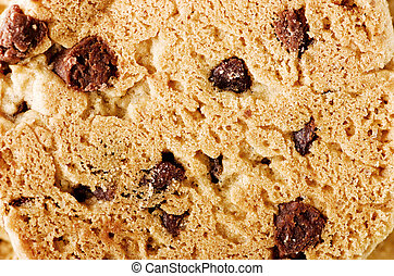 Chocolate chip cookie background, close-up.