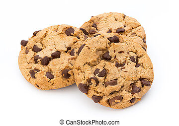 Chocolate chip cookie. - Chocolate chip cookie on white ...