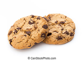 Chocolate chip cookie. - Chocolate chip cookie on white...
