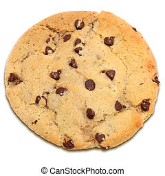 chocolate chip cookie over white