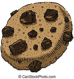 Chocolate Chip Cookie - A cartoon chocolate chip cookie.