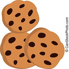 Chocolate chip cookie, illustration, vector on white background.