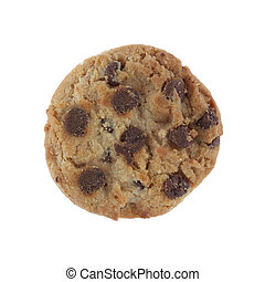 chocolate chip cookie isolated on a white background with clipping path