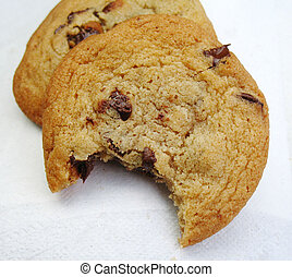 chocolate chip cookie with bite taken
