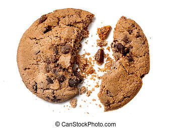 Chocolate chip cookie with crumbs isolated on white background. Homemade bakery and dessert