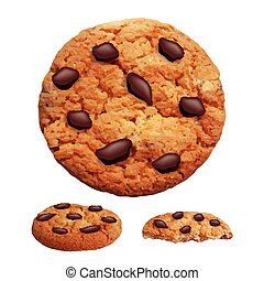Chocolate chip cookies 3d photo realistic vector - Three...