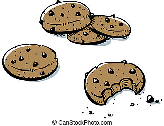 Chocolate Chip Cookies - A small pile of cartoon, chocolate...