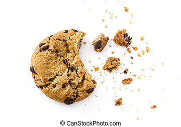 Chocolate chip cookies and crumbs isolated on white ...