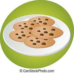 Chocolate chip cookies - Chcocolate chip cookies on plate...