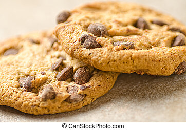 Close up of chocolate chip cookies.